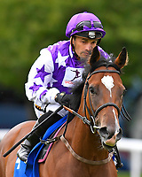Lady Aria ridden by Silvestre De Sousa goes down to the start of The Shadwell Dick Poole Fillies' Stakes  during the Bathwick Tyres & EBF Race Day at Salisbury Racecourse on 6th September 2018
