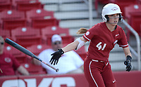 NWA Democrat-Gazette/ANDY SHUPE<br /> Arkansas designated hitter Danielle Gibson tosses her bat as she heads to first against Wichita State Wednesday, April 10, 2019, during the fourth inning at Bogle Park in Fayetteville. Visit nwadg.com/photos to see more photographs from the game.
