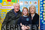 Grandparents Fred and Ann Garvey with their granddaughter Caoimhe Leen (Ballymac) at the Grandparents day in O'Breannain NS on Tuesday