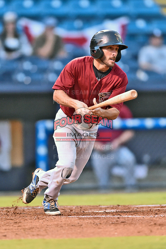Savannah Sand Gnats second baseman Jonathan Johnson (8) swings at a pitch during game one of the Southern Division South Atlantic League Playoffs against the Asheville Tourists on September 9, 2015 in Asheville, North Carolina. The Tourists defeated the Sand Gnats 5-1. (Tony Farlow/Four Seam Images)