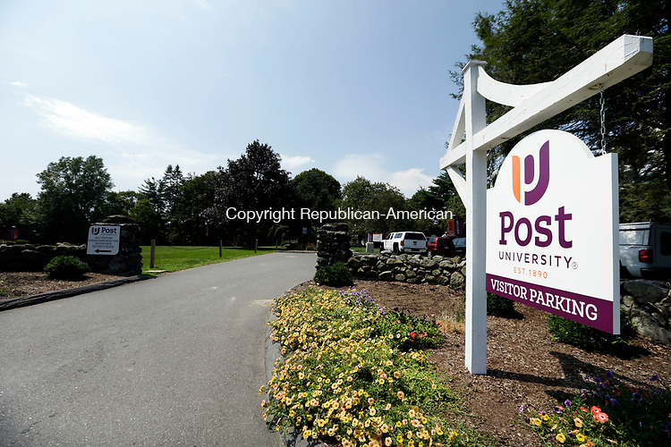 Waterbury, CT- 04 August 2017-080417CM01- A new entrance sign is shown at the visitors lot at Post University in Waterbury on Friday.      Christopher Massa Republican-American