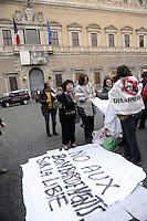 Roma, 19 Marzo 2011.Piazza Farnese.Presidio di pacifisti contro l'attacco NATO alla Libia.davanti l'Ambasciata francese
