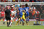 Sead Kolasinac of Arsenal scoring the equalising goal during the The FA Community Shield match at Wembley Stadium, London. Picture date 6th August 2017. Picture credit should read: Charlie Forgham-Bailey/Sportimage