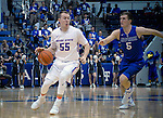 March 4, 2017:  Boise State guard, James Reid #55, works at the top of key during the NCAA basketball game between the Boise State Broncos and the Air Force Academy Falcons, Clune Arena, U.S. Air Force Academy, Colorado Springs, Colorado.  Boise State defeats Air Force 98-70.