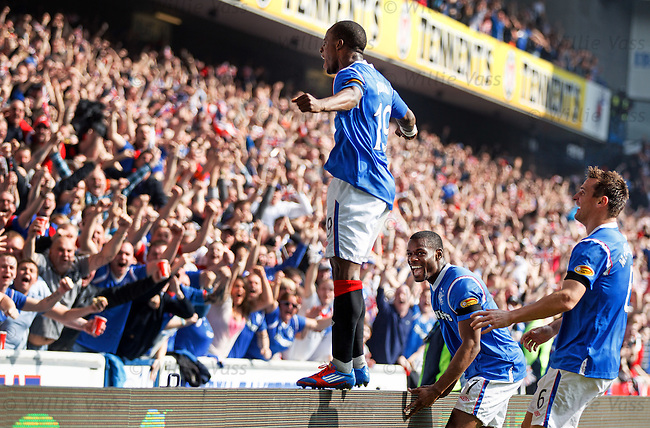 Sone Aluko celebrates his goal to the Rangers fans