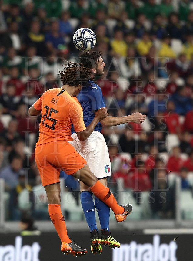 International friendly football match Italy vs The Netherlands, Allianz Stadium, Turin, Italy, June 4, 2018. <br /> Italy's Bryan Cristante (r) in action with Netherlands Nathan Ak&eacute; (l) during the international friendly football match between Italy and The Netherlands at the Allianz Stadium in Turin on June 4, 2018.<br /> UPDATE IMAGES PRESS/Isabella Bonotto