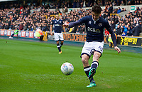 Ben Marshall of Millwall crosses the ball during the Sky Bet Championship match between Millwall and Nottingham Forest at The Den, London, England on 30 March 2018. Photo by Alan  Stanford / PRiME Media Images.