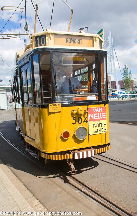 Historic sightseeing tram train on tourist route 10 around the city, Rotterdam, Netherlands