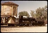 D&amp;RGW #498 K-37 at water tank at Farmington.<br /> D&amp;RGW  Farmington, NM