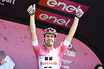 Race leader Maglia Rosa Tom Dumoulin (NED) Team Sunweb  at sign on before the start of Stage 2 of the 101st edition of the Giro d'Italia 2018 running 167km from Haifa to Tel Aviv, Israel. 5th May 2018.<br /> Picture: LaPresse/Fabio Ferrari | Cyclefile<br /> <br /> <br /> All photos usage must carry mandatory copyright credit (&copy; Cyclefile | LaPresse/Fabio Ferrari)