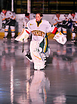 9 October 2009: University of Vermont Catamount goaltender Kristen Olychuck, a Senior from Kelowna, British Columbia, is introduced to the Vermont fans on Opening Night prior to facing the Union Dutchwomen at Gutterson Fieldhouse in Burlington, Vermont. Olychuck recorded a shutout as the Catamounts defeated the visiting Dutchwomen 2-0 to start off the Cats' 2009 season. Mandatory Credit: Ed Wolfstein Photo