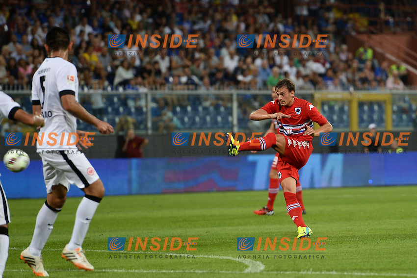 Gol Manolo Gabbiadini. Goal Celebration <br /> Genova 02-08-2014 Stadio Marassi <br /> Calcio 2014/2015 Sampdoria - Eintracht Francoforte <br /> Foto Matteo Gribaudi / Image/ Insidefoto