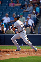 Detroit Tigers right fielder Steven Moya (33) at bat during a Spring Training game against the New York Yankees on March 2, 2016 at George M. Steinbrenner Field in Tampa, Florida.  New York defeated Detroit 10-9.  (Mike Janes/Four Seam Images)