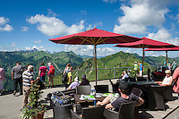 Austria, Vorarlberg, Kleinwalsertal, Mittelberg: view terrace at Walmendingerhorn upper station with view into the Allgaeu Alps | Oesterreich, Vorarlberg, Kleinwalsertal, Mittelberg: Aussichtsterrasse der Bergstation Walmendingerhorn mit Blick in die Allgaeuer Alpen