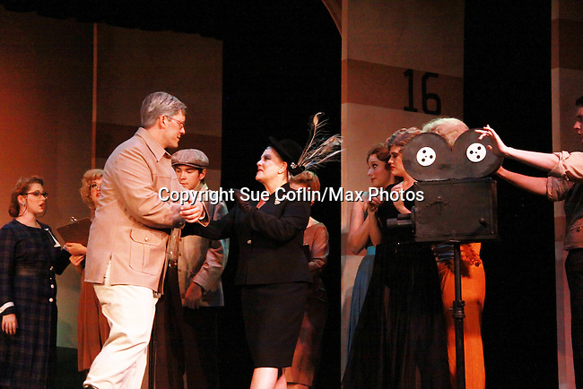 """Charlie King """"Cecil B. DeMille"""" and One Life To Live and Guiding Light Kim Zimmer stars as """"Norma Desmond"""" in Sunset Boulevard for several weeks in August at the Barn Theatre in Augusta, Michigan. The photos are from the dress rehearsal. (Photo by Sue Coflin/Max Photos)"""