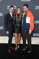 LOS ANGELES, CA - JUNE 10: Luis Gerardo Méndez, Jennifer Aniston, Adam Sandler, at the Los Angeles Premiere Screening of Murder Mystery at Regency Village Theatre in Los Angeles, California on June 10, 2019. <br /> CAP/MPIFS<br /> ©MPIFS/Capital Pictures
