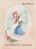 Interlitho, CHRISTMAS SANTA, SNOWMAN, nostalgic, paintings, girl, basket, dog(KL5053/2,#X#) Weihnachten, nostalgisch, Navidad, nostálgico, illustrations, pinturas