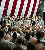 Baghdad, Iraq - April 7, 2009 -- United States President Barak Obama visited Al Faw Palace on Camp Victory, Iraq, Tuesday,  April 7, 2009.  This was Obama's first visit to Iraq as commander in chief and he made time to talk to service members and civilians serving here..Credit: Lee Craker - DoD via CNP