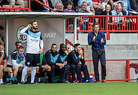 Gareth Ainsworth Manager of Wycombe Wanderers and Barry Richardson first team Coachduring the Sky Bet League 2 match between Crawley Town and Wycombe Wanderers at Checkatrade.com Stadium, Crawley, England on 29 August 2015. Photo by Liam McAvoy.