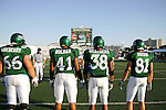 Denton, TX - SEPTEMBER 30: Dylan Lineberry #66,Maurice Holman #41, Aaron Weathers #38, Johnny Quinn #81-  University of North Texas Mean Green football vs Middle Tennessee Blue Raiders at Fouts Field in Denton on September 30, 2006 in Denton, Texas. MT WON 35-0. (Photo by Rick Yeatts)