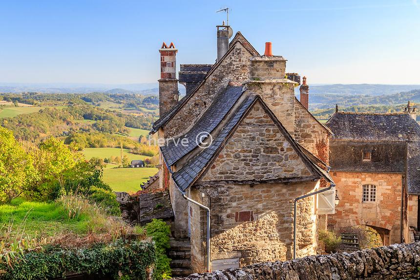 France, Correze, Turenne, labelled Les Plus Beaux Villages de France (The Most Beautiful Villages of France), houses in the village // France, Corrèze (19), Turenne, labellisé Les Plus Beaux Villages de France, maisons dans le village