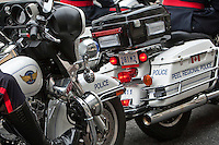 Peel Regional Police motorcycle is seen during a police memorial parade in Ottawa Sunday September 26, 2010.
