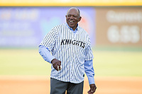 Former Charlotte Hornet Tony Oliva prepares to throw out a ceremonial first pitch prior to the International League game between the Durham Bulls and the Charlotte Knights at BB&T BallPark on May 16, 2017 in Charlotte, North Carolina.  The Knights defeated the Bulls 5-3. (Brian Westerholt/Four Seam Images)