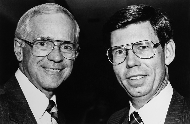 """Rep. J. Roy Rowland, D-Ga., and Rep. Bill McCollum, R-Fla., """"Greek fundraiser"""" on April 29, 1989. (Photo by Laura Patterson/ CQ Roll Call)"""