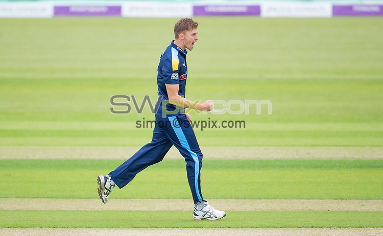 Picture by Allan McKenzie/SWpix.com - 13/06/2017 - Cricket - Royal London One-Day Cup - Yorkshire County Cricket Club v Surrey County Cricket Club - Headingley Cricket Ground, Leeds, England - Yorkshire's Ben Coad celebrates dismissing Surrey's Mark Stoneman.