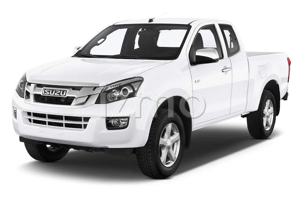 2015 Isuzu D-Max L+ 4 Door Pickup 2WD Angular Front stock photos of front three quarter view