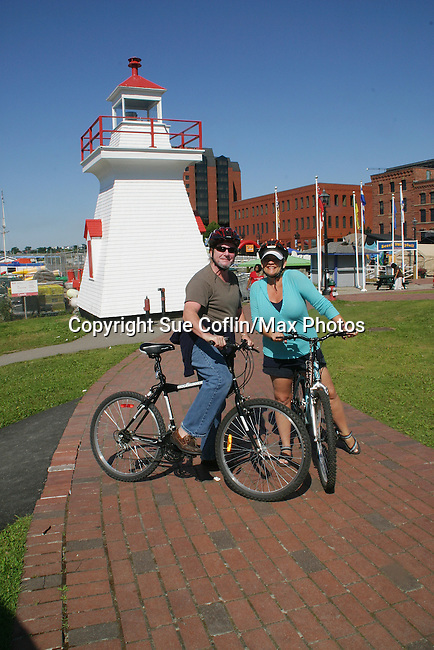 Kim Zimmer and husband AC Weary ride bikes in Saint John, New Brunswick - Canada - Day 2 - August 1, 2010 - So Long Springfield at Sea - A day in port in Saint John, New Brunswick, Canada from the Carnival's Glory (Photos by Sue Coflin/Max Photos)