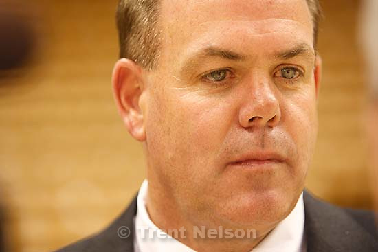 Provo - Coach Dave Rose at BYU basketball's media day, Thursday at the Marriott Center.