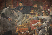 St Vincent de Paul assisting King Louis XIII on his deathbed, fresco, 1825, by Alexandre-Charles Guillemot, 1786-1831, in the Chapelle de Saint-Vincent-de-Paul, in the church of Saint-Sulpice, built 1646-1870, in the 6th arrondissement of Paris, France. Picture by Manuel Cohen