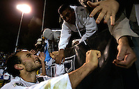 SAN JOSE, CA--LA Galaxy forward Landon Donovan, is congratulated by fans after their win over the San Jose Earthquakes. The LA Galaxy defeated the San Jose Earthquakes to win the first round playoffs with an aggregate score of three goals to one at Spartan Stadium in San Jose, California on Saturday, October 29, 2005. PHOTO BY DON FERIA. SATURDAY, OCTOBER 29, 2005