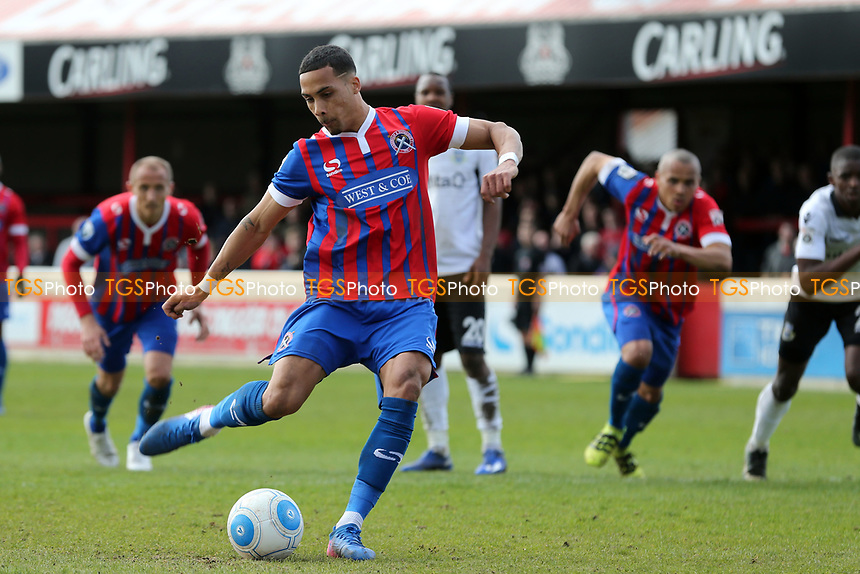 Corey Whitely of Dagenham scores the fourth goal from the penalty spot during Dagenham & Redbridge vs Eastleigh, Vanarama National League Football at the Chigwell Construction Stadium on 1st April 2017