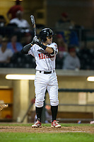 Alejo Lopez (5) of the Billings Mustangs at bat against the Missoula Osprey at Dehler Park on August 21, 2017 in Billings, Montana.  The Osprey defeated the Mustangs 10-4.  (Brian Westerholt/Four Seam Images)