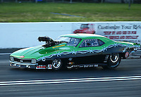 Jun 11, 2016; Englishtown, NJ, USA; NHRA pro mod driver Eric Latino during qualifying for the Summernationals at Old Bridge Township Raceway Park. Mandatory Credit: Mark J. Rebilas-USA TODAY Sports