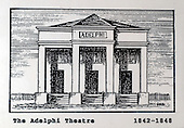 The Adelphi Theatre, Glasgow, a copy of one of the images gifted by actor Tony Roper to the Britannia Panoptican in Glasgow, after he presented the long-lost variety music hall with some ink drawings of old Glasgow theatres. The framed collection was given to Roper by the family of Ricki Fulton - picture by Donald MacLeod 05.03.09