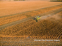63801-08518 Corn Harvest, John Deere combine harvesting corn - aerial Marion Co. IL
