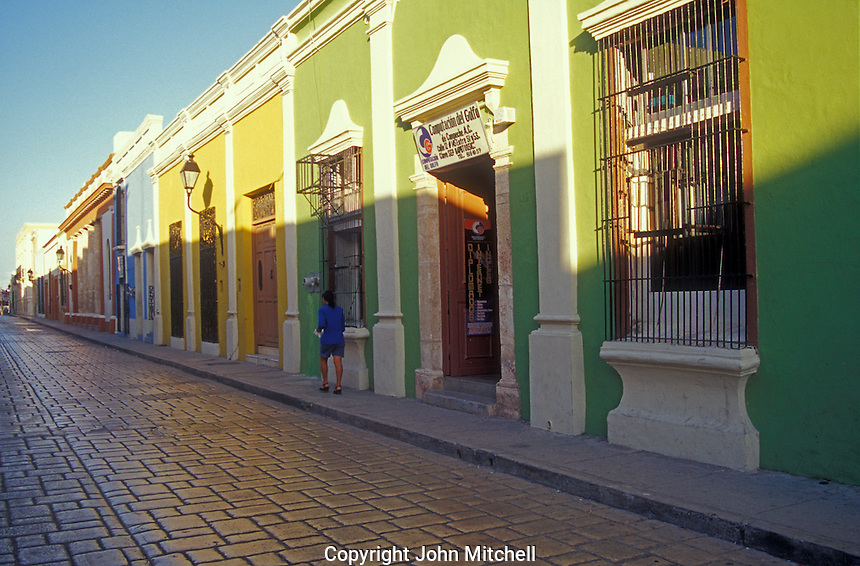 Restored Spanish colonial buildings in the City Of Campeche, Mexico. Campeche is a UNESCO World Heritage Site.