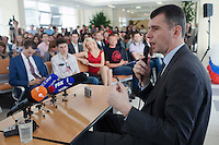 Moscow, Russia, 06/09/2011..Russian billionaire businessman Mikhail Prokhorov, newly elected leader of pro-business political party Right Cause, speaks to students and staff at the Economics Faculty of the Moscow State University.