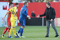 Fleetwood Town's Alex Cairns and Fleetwood Town manager Joey Barton at the end of todays match<br /> <br /> Photographer Rachel Holborn/CameraSport<br /> <br /> Emirates FA Cup First Round - Alfreton Town v Fleetwood Town - Sunday 11th November 2018 - North Street - Alfreton<br />  <br /> World Copyright &copy; 2018 CameraSport. All rights reserved. 43 Linden Ave. Countesthorpe. Leicester. England. LE8 5PG - Tel: +44 (0) 116 277 4147 - admin@camerasport.com - www.camerasport.com