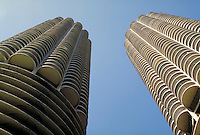 Close-up view of Chicago's Marina Towers, looking straight up between the two towers.  horizontal. Chicago Illinois United States Loop.
