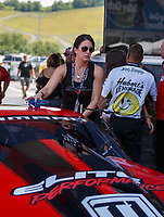 Jun 18, 2017; Bristol, TN, USA; Courtney Enders , sister of NHRA pro stock driver Erica Enders-Stevens during the Thunder Valley Nationals at Bristol Dragway. Mandatory Credit: Mark J. Rebilas-USA TODAY Sports