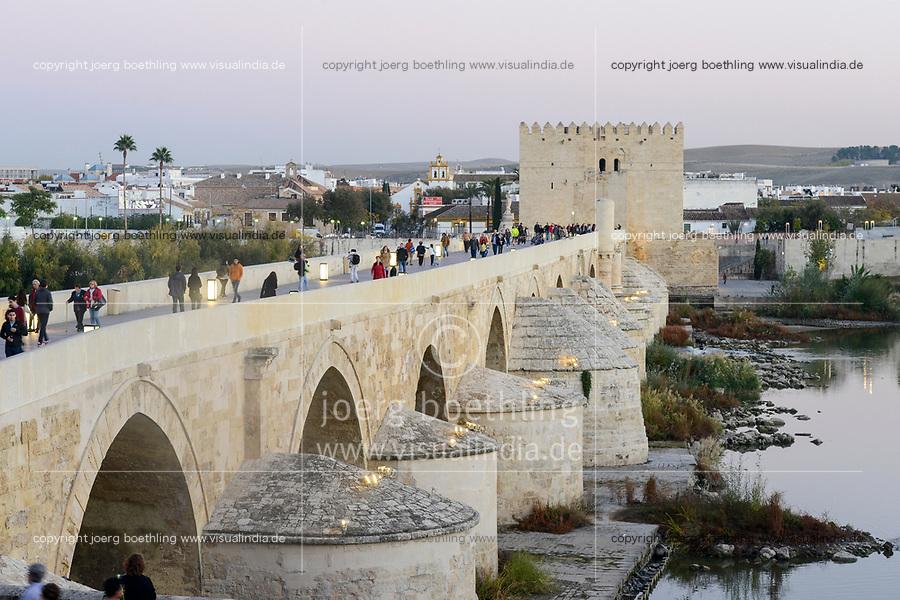SPAIN, Cordoba, Guadalquivir  river, roman bridge, Torre de Calaho