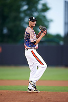 Aberdeen Ironbirds pitcher Travis Seabrooke (27) delivers a pitch during a game against the Tri-City ValleyCats on August 6, 2015 at Ripken Stadium in Aberdeen, Maryland.  Tri-City defeated Aberdeen 5-0 in a combined no-hitter.  (Mike Janes/Four Seam Images)