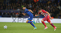Leicester City's Riyad Mahrez chased by Atletico Madrid's Jose Gimenez<br /> <br /> Photographer Stephen White/CameraSport<br /> <br /> UEFA Champions League Quarter Final Second Leg - Leicester City v Atletico Madrid - Tuesday 18th April 2017 - King Power Stadium - Leicester <br />  <br /> World Copyright &copy; 2017 CameraSport. All rights reserved. 43 Linden Ave. Countesthorpe. Leicester. England. LE8 5PG - Tel: +44 (0) 116 277 4147 - admin@camerasport.com - www.camerasport.com