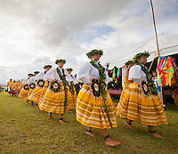 The women of Halau Na Hula o Kaohikukapulani preparing to perform at the 2011 Kauai Polynesian Festival