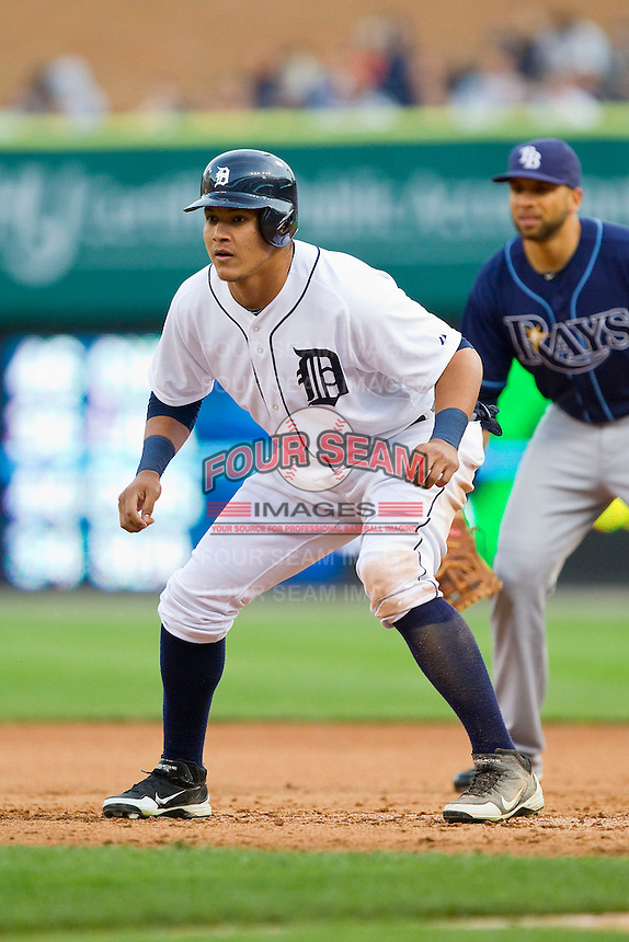Avisail Garcia (34) of the Detroit Tigers takes his lead off of first base against the Tampa Bay Rays at Comerica Park on June 4, 2013 in Detroit, Michigan.  The Tigers defeated the Rays 10-1.  Brian Westerholt/Four Seam Images
