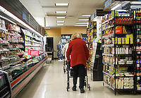 Senior citizens in the aisles of a supermarket in New York on Wednesday, November 2, 2016. (© Richard B. Levine)